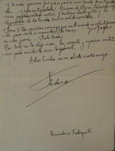 Lote N. 3204: Carta manuscrita de Federico García Lorca, dirigida a Emilia Llanos. Subasta N.498. Foto: Durán Arte y Subastas.
