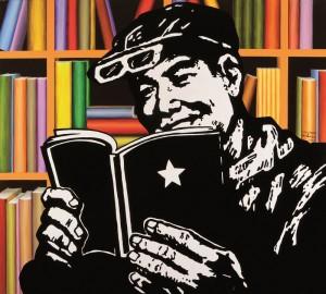 """Lote N. 168: """"La lectura del libro rojo"""" de Manuel Cáceres y Jose Luis Miranda. Subasta N.498. Foto: Durán Arte y Subastas."""