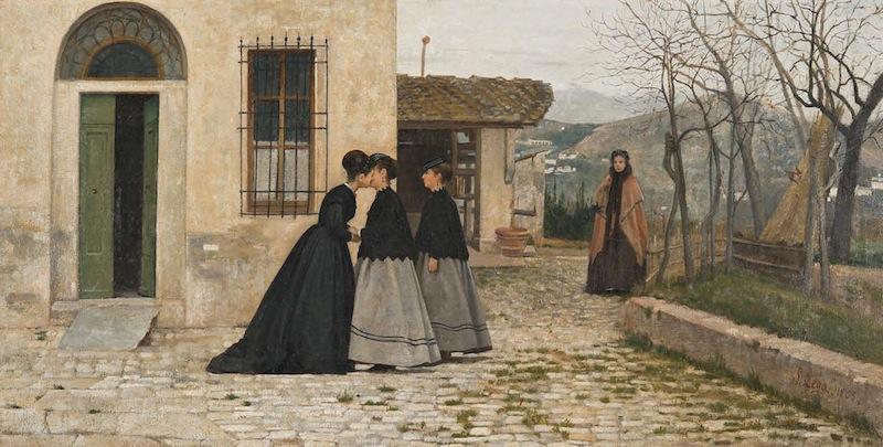 Silvestro Lega, La visita (1858). Óleo sobre lienzo, 31 x 60 cm. Galleria Nazionale d'Arte Moderna e Contemporanea, Roma. © Galleria Nazionale d'Arte Moderna, Roma / Antonio Idini.