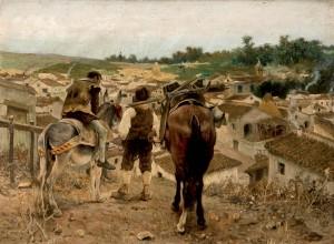 """José Jiménez Aranda, """"Campesinos dirigiéndose al pueblo"""". O/L. 38 x 50. Foto: Durán Arte y Subastas."""