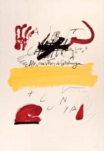 """Antoni Tàpies, """"Als Mestres de Catalunya"""". Litografía. 99 x 69. Foto: Durán Arte y Subastas."""