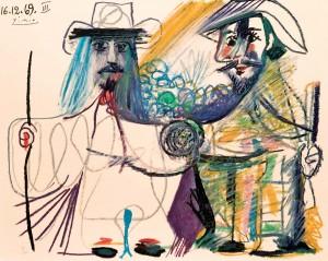 """Pablo Ruíz Picasso, """"Dos figuras"""". Litografía color. Foto: Durán Arte y Subastas."""