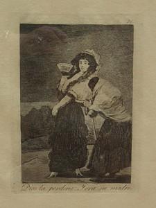"""Francisco Goya de Lucientes: """"Dios la perdone. Y era su madre"""" (Capricho 16). Grabado al aguafuerte. Foto: Durán Arte y Subastas."""
