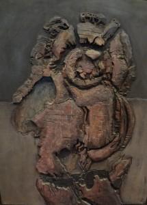 """LUCIO MUÑOZ. """"Papagenos"""". Técnica mixta sobre tabla. 146 x 114. Firmado en el ángulo superior izquierdo. Al dorso etiqueta de la Galería Juana Mordó. Salida: 25.000 €."""