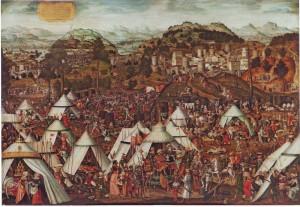 Mathis Gerung, El campamento de Holofernes (1538). Óleo sobre tabla 103 x 151 cm. Propiedad: Colección Masaveu. © De la reproducción: Fundación María Cristina  Masaveu, 2013.