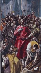 El Greco, Domenicos Theotocópuli, El Expolio de Cristo (ca. 1577–1579). Óleo sobre tabla, 56,6 x 32 cm. Propiedad: Colección Masaveu. © De la reproducción: Fundación María Cristina  Masaveu, 2013. Autor de la fotografía: Marcos Morilla.