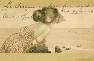 Postal Greek girl de Raphael Kirchner [ca. 1900]. Tarjeta Postal. Biblioteca Lázaro Galdiano. © Fundación Lázaro Galdiano. Madrid.
