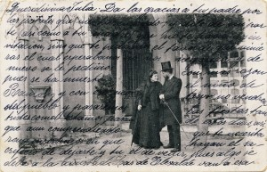 Postal A lo real por lo ideal [1901] (*) Biblioteca Lázaro Galdiano. © Fundación Lázaro Galdiano. Madrid. (*) El personaje de la imagen es José Lázaro Galdiano.