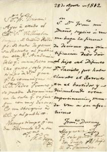 Billete de Francisco Durán a Francisco de Goya con la contestación del pintor [1812] Manuscrito. Biblioteca Lázaro Galdiano. © Fundación Lázaro Galdiano. Madrid.