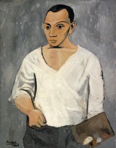 Foto: Pablo Picasso, Autorretrato con paleta, 1906. Óleo sobre lienzo, 91.9 x 73.3 cm. A. E. Gallatin Collection, 1950. Philadelphia Museum of Art. © Sucesión Pablo Picasso, VEGAP, Madrid, 2014. Cortesía Fundación Mapfre.