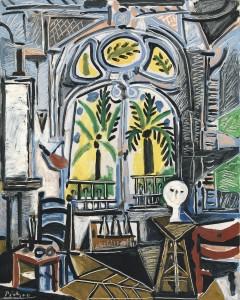 Foto: Pablo Picasso, El taller, 1955. Óleo sobre lienzo, 80,9 x 64,9 cmTate: Presentado por Gustav y Elly Kahnweiler en 1974, añadido a la colección en 1994.© Tate, London 2014 / Sucesión Pablo Picasso, VEGAP, Madrid, 2014. Cortesía Fundación Mapfre.