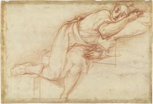 Jacopo Pontormo, Joven recostado sobre una escalinata, Sanguina sobre papel blanco, 278 x 404 mm. Gabinetto Disegni e Stampe degli Uffizi, Florencia, Nº Inv. 6741 Fv. Cortesía Fundación Mapfre.