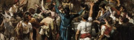 Subasta Marzo 2014 - N. 506. Lote n. 75: JOAQUÍN SOROLLA, Estudio para el grito de Palleter, óleo sobre lienzo. Foto: Durán Arte y Subastas.