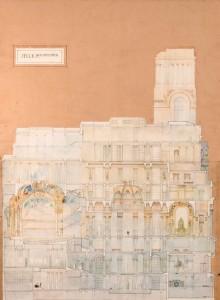 """Subasta 507 – Abril 2014. Lote n. 120: ANTONIO PALACIOS, Círculo de Bellas Artes, """"Sección Longitudinal"""". Foto: Durán Arte y Subastas."""
