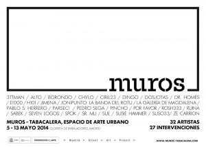 Cartel de presentación de MUROS 2014 y artistas invitados.