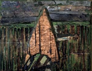 """Subasta 511 – Julio 2014. Lote n. 221: LUCIO MUÑOZ, """"Composición"""", de  (Óleo sobre madera, 33x 41) . Foto: Durán Arte y Subastas."""