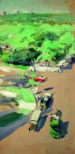 Joaquín Sorolla, Central Park, Nueva York, 1911. Gouache sobre cartón. 70 x 34,5 cm. Museo Sorolla, Madrid. Inv. 826. Foto: Museo Sorolla, Madrid. Cortesía Fundación Mapfre.