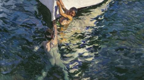 Joaquín Sorolla, El bote blanco. Jávea, 1905. Óleo sobre lienzo, 105 x 150 cm. Colección particular. Foto: Colección particular, Estados Unidos. Cortesía Fundación Mapfre.