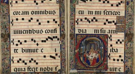 Cantoral. Iglesia Católica. [Misas para el propio del tiempo] . [148-?] . 1 libro de coro (69 f.) perg. 92 x 65 cm. BNE, Mpcant/23. Cortesía BNE, Madrid.