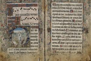 Iglesia Católica. [Antifonario]. [148-?] . 1 libro de coro (62 f.) perg 88 x 64 cm. fol. 9v-10r. BNE, Mpcant/35). Cortesía BNE, Madrid.
