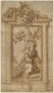 Alonso Cano, Altar de santa Catalina de Alejandría, con dos propuestas de marco, Museo Nacional del Prado, Dibujos españoles en la Hamburger Kunsthalle, 2014.