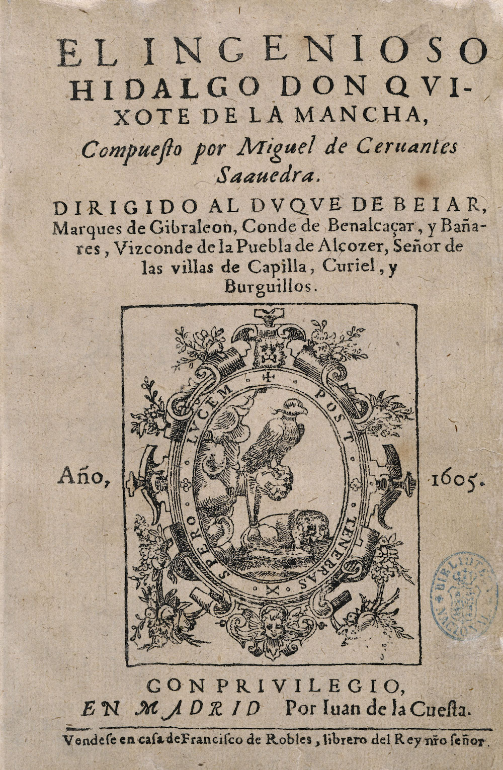 Coleccionismo Cervantino, Portada, Biblioteca Nacional de España, Madrid, 2015.