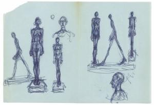 Alberto Giacometti. Hombre que anda, figuras de pie sobre peana, bustos de hombre de frente y de perfil. Fundación Canal, Madrid, 2015.