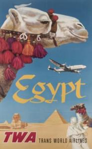 """Lote 547, Subasta 520, Cartel """"Egypt. TWA. Trans World Airlines"""", 1947. Mayo 2015. Foto: Durán Arte y Subastas."""
