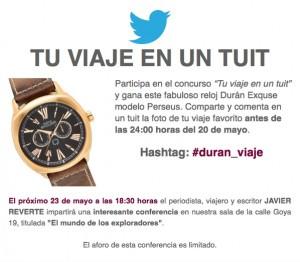 Concurso en Twitter Tu viaje en un Tuit, Subasta 520, Viajes, Expediciones y Culturas Lejanas, Mayo 2015.