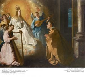 Francisco de Zurbarán, Aparición de la Virgen a San Pedro Nolasco, c. 1628-1630. Museo Thyssen-Bornemisza, ZURBARÁN: una nueva mirada, 2015.