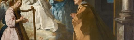 Francisco de Zurbarán, Aparición de la Virgen a San Pedro Nolasco, c. 1628-1630. Óleo sobre lienzo, 165 x 204 cm. Colección privada, cortesía Galería Coatalem, París. Museo Thyssen-Bornemisza, ZURBARÁN: una nueva mirada, 2015.
