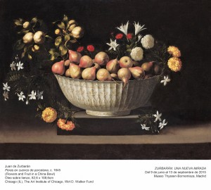 Juan de Zurbarán, Peras en cuenco de porcelana, c. 1645. Museo Thyssen-Bornemisza, ZURBARÁN: una nueva mirada, 2015.