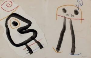 Lote 242, Subasta 523, Joan Miró, Dibujo para Ubú rey. Septiembre 2015. Durán Arte y Subastas.