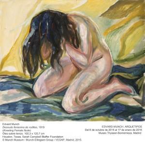 Desnudo femenino de rodillas, Edvard Munch, 1919. Museo Thyssen-Bornemisza, Madrid, 2015.