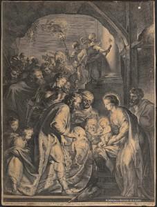 Lucas Vorsterman, La Adoración de los Reyes con antorchas, 1620. Rubens, Van Dyck y la Edad de oro del grabado flamenco. BNE. Madrid, 2015.