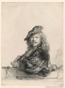 Rembrandt Harmenszoon van Rijn, Rembrandt apoyado sobre un pretil, 1639. Rubens, Van Dyck y la Edad de oro del grabado flamenco. BNE. Madrid, 2015.