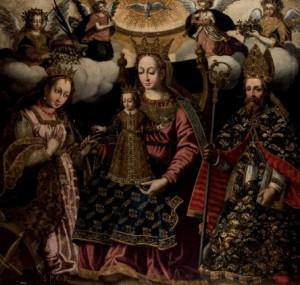 Lote 3128, Subasta 526, Virgen Coronada, Escuela colonial del siglo XVII. Diciembre 2015. Durán Arte y Subastas.