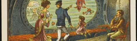 Jean Marc Côté, A bordo de un paquebote submarino, L'an 2000, 1899. Exposición Julio Verne. Los límites de la imaginación. Espacio Fundación Telefónica, Madrid. Cortesía: Espacio Fundación Telefónica, 2016.