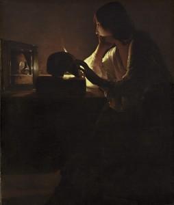 Georges de La Tour. 1593-1652. La Magdalena penitente del espejo. Museo Nacional del Prado.