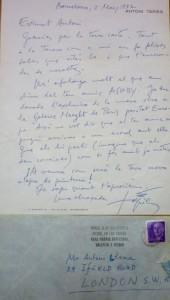Lote 3026, Subasta 533, Carta autógrafa Antoni Tàpies, 1972. Junio 2016. Durán Arte y Subastas.