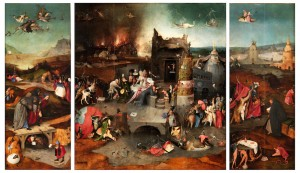 El Bosco. Tríptico de las tentaciones de san Antonio Abad, 1500–1505. Museo Nacional del Prado. Madrid, 2016.