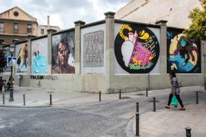 Muros Tabacalera 2014. Vista de las obras de arte urbano. Madrid 2016.