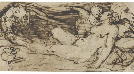 Alonso Cano, Venus, Cupido y un sátiro, h. 1655-60. Pluma de caña de tinta parda sobre papel verjurado. Gallerie degli Uffizi-Gabinetto Disegni e Stampe, 10260 S. Cortesía: RABASF, Madrid, 2016.
