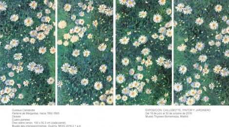 Gustave Caillebotte, Parterre de Margaritas, hacia 1892-1893 (Bed of Daisies)Cuatro paneles.Óleo sobre lienzo. 100 x 50,3 cm (cada panel). Musée des impressionnismes, Giverny, MDIG 2016.2.1 a 4. Cortesía: Museo Thyssen-Bornemisza, Madrid. 2016.