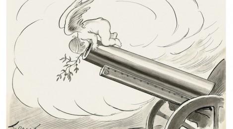 """Sileno, """"El ángel de la paz. —¡No se le ve el fin! 30 de diciembre de 1916"""". Sileno. Tambores en la batalla. Crónica ilustrada de la I Guerra Mundial. Museo ABC, Madrid. Cortesía: Museo ABC, Madrid, 2016."""