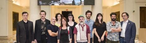 Presentación de los artistas ganadores de las Ayudas Fundación BBVA a la Creación en Videoarte 2014. Exposición Multiverso. Cortesía: Fundación BBVA, Madrid, 2016.