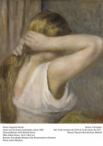 Pierre-Auguste Renoir, Joven con los brazos levantados, hacia 1895. Museo Thyssen-Bornemisza, Madrid, 2016.
