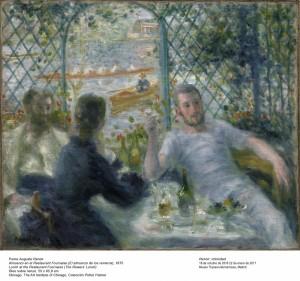 Pierre-Auguste Renoir, Almuerzo en el Restaurant Fournaise, 1875. Museo Thyssen-Bornemisza, Madrid, 2016.
