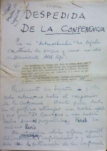 """Lote 3115, Subasta 537, Ramón Gómez de la Serna. """"Despedida de la conferencia"""". Noviembre 2016. Durán Arte y Subastas."""