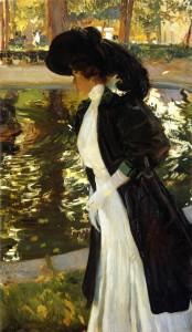 Clotilde paseando en los jardines de La Granja, Joaquín Sorolla, 1906. Sorolla en París. Museo Sorolla, Madrid, 2016.